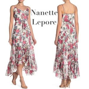 Nanette Lepore metallic floral midi tea boho dress